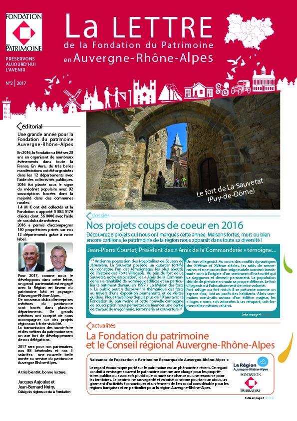 Nouvelle lettre Auvergne-Rhône-Alpes 2017 de la Fondation du patrimoine